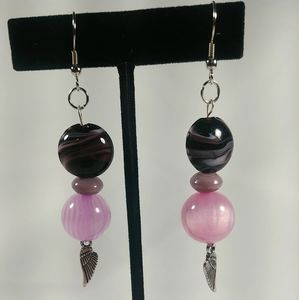 Jewelry - Purple & Pink Chunky Beaded Earrings With Wings